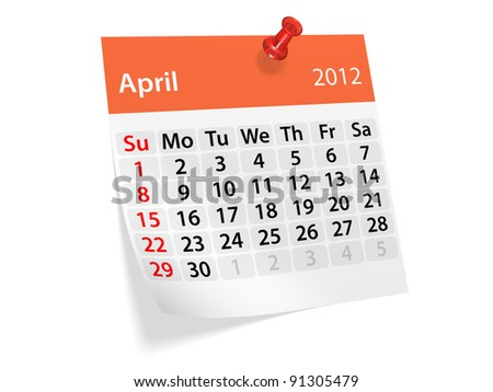 Monthly calendar for New Year 2012. April. - stock photo