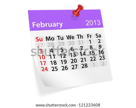Monthly calendar for New Year 2013. February.
