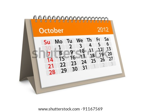 Monthly calendar for New Year 2012. October. - stock photo