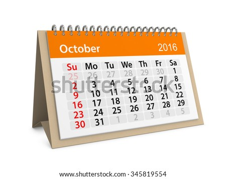 Monthly calendar for October 2016. 3d illustration
