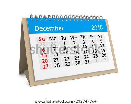 Monthly calendar for year 2015. December - stock photo