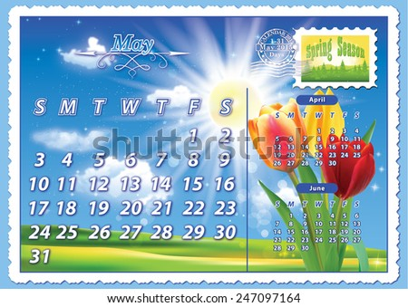 Monthly calendar 2015 - May May-  planning calendar (postcard design), having a spring landscape on the background and some tulip flowers on the right, the symbol of the spring season.  - stock photo