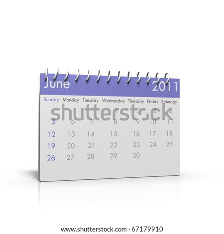 Monthly calendar of June 2011 with spiral on top - stock photo