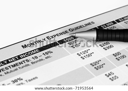 Monthly expenses guidelines
