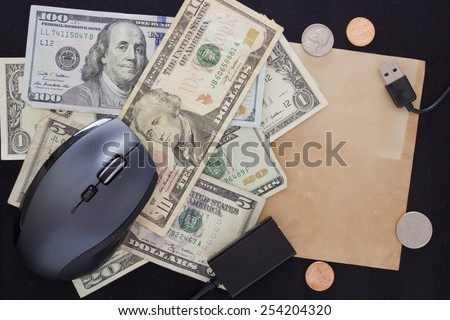 Monthly payment for internet connection with elements of computer technology. - stock photo