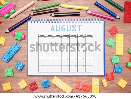 monthly planner. august - stock photo