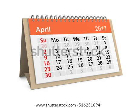 Monthly table calendar for April 2017. Colorful cardboard table calendar for April 2017. Table calendar series. 3d illustration