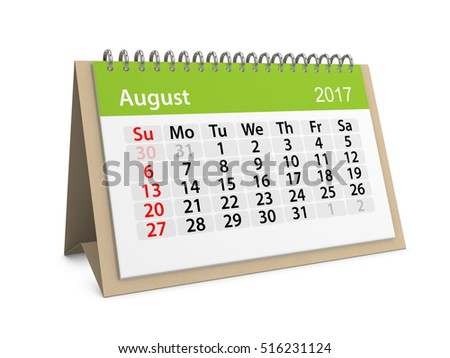 Monthly table calendar for August 2017. Colorful cardboard table calendar for August 2017. Table calendar series. 3d illustration