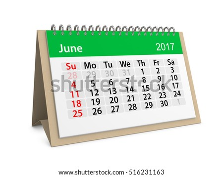 Monthly table calendar for June 2017. Colorful cardboard table calendar for June 2017. Table calendar series. 3d illustration