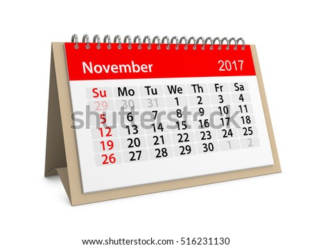 Monthly table calendar for November 2017. Colorful cardboard table calendar for November 2017. Table calendar series. 3d illustration