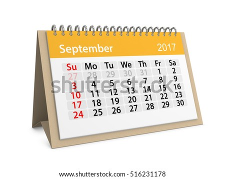Monthly table calendar for September 2017. Colorful cardboard table calendar for September 2017. Table calendar series. 3d illustration