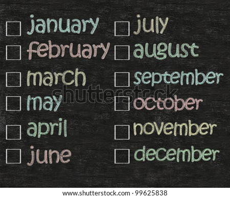 months of the year written on blackboard background with blank box, high resolution