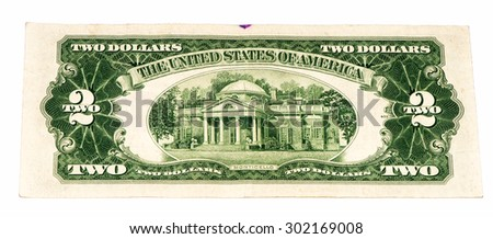 Monticello on the 2 US dollars bank note made in 1953