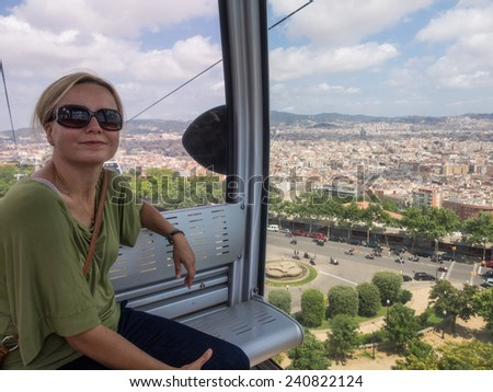 Montjuic Cable Car is a gondola lift in Barcelona, Catalonia, Spain. The cable car runs from Montjuic Park to the Montjuic Castle - stock photo