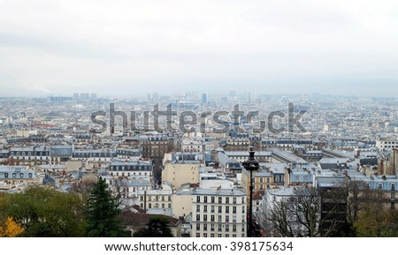 Montmartre, city top view and cloudy sky Paris, France - stock photo