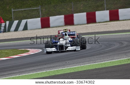 MONTMELO, SPAIN - MAY 10: BMW Sauber participates in the Spanish Grand Prix on May 10, 2009 in Montmelo, Spain.  Robert Kubica finished in 11th place and Nick Heidfeld finished in 7th place