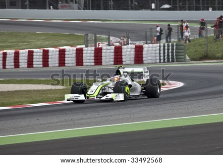 MONTMELO, SPAIN - MAY 10: BrawnGP participates in the Spanish Grand Prix on May 10, 2009 in Montmelo, Spain.  Rubens Barichello of Brazil finished 2nd and Jenson Button in 1st.