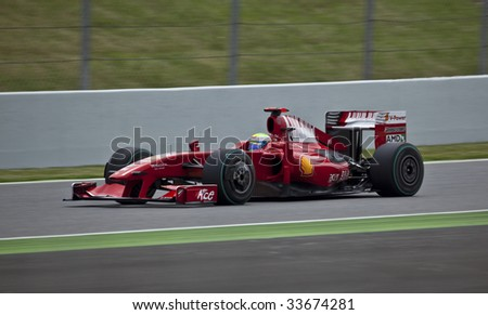 MONTMELO, SPAIN - MAY 10: Ferrari participates in the Spanish Grand Prix on May 10, 2009 in Montmelo, Spain.  Felipe Massa finished in 6th place and Kimi Rikknen did not finish.