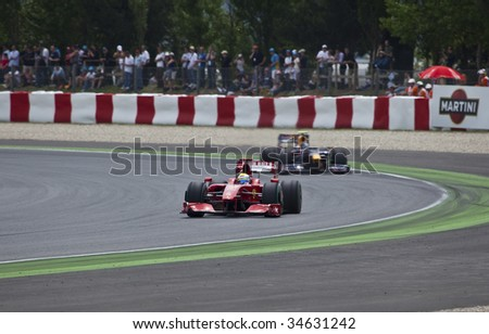 MONTMELO, SPAIN - MAY 10: Ferrari participates in the Spanish Grand Prix on May 10, 2009 in Montmelo, Spain.  Felipe Massa finished in 6th place - stock photo