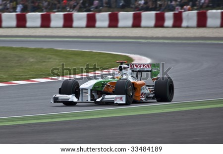 MONTMELO, SPAIN - MAY 10: Formula 1 team Force India participates in the Spanish Grand Prix at the Circuit de Catalunya on May 10, 2009  in Montmelo, Spain.  Both drivers crashed and did not finish the race.