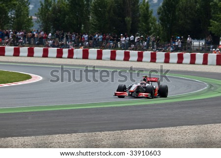 Montmelo, Spain - May 10: McLaren participates in the Spanish Grand Prix on May 10, 2009.  Heikki Kovalainen did not finish and Lewis Hamilton placed 9th. - stock photo