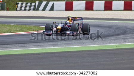 MONTMELO, SPAIN - MAY 10: RBR-Renault participates in the Spanish Grand Prix on May 10, 2009 in Montmelo, Spain.  Mark Webber finished in 3rd place and Sebastian Vettel finished in 4th.