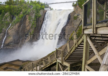 Montmorency Falls and the wooden staircase leading up to it, Quebec, Canada