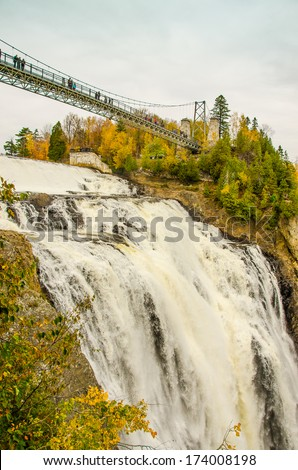 Montmorency Falls Park near Quebec City, Canada. The waterfall is 83 m tall, a full 30 m higher than Niagara Falls.  - stock photo