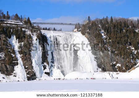 Montmorency ice waterfall, Quebec, Canada - stock photo