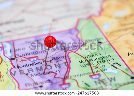 Montpelier pinned on a map of USA  - stock photo