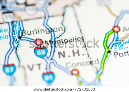 Montpelier Usa On Map Stock Photo Royalty Free 772731853