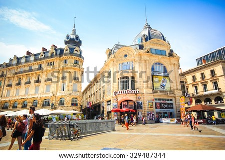 MONTPELLIER, FRANCE - JULY 2: Opera national de Montpellier on July 2, 2015 in Montpellier. Built in the Italian style and opened in 1888 - stock photo