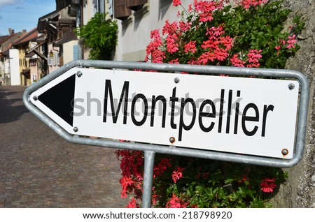 Montpellier road sign - stock photo