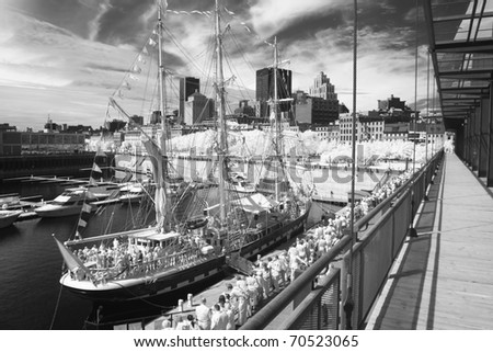 Montreal and the boat on the dock. - stock photo