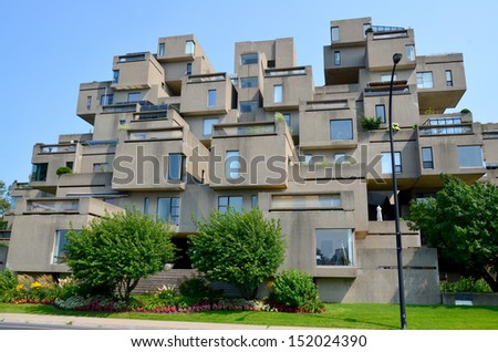 MONTREAL-AUG. 26: A view of Habitat 67 on Agu 26, 2013 in Montreal, Quebec, CA. Habitat 67 is considered a landmark and one of the most recognizable and significant buildings in Montreal and Canada - stock photo