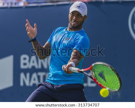 MONTREAL - AUGUST 13: Donald Young of USA during his third round match loss to Ernests Gulbis of Latvia at the 2015 Rogers Cup on August 13, 2015 in Montreal, Canada