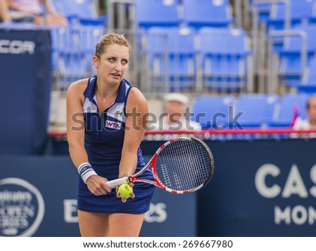 MONTREAL - AUGUST 5: Timea Bacsinszky of Switzerland in her Second round match loss to Ana Ivanovic of Serbia at the 2014 Rogers Cup on August 5, 2014 in Montreal, Canada - stock photo