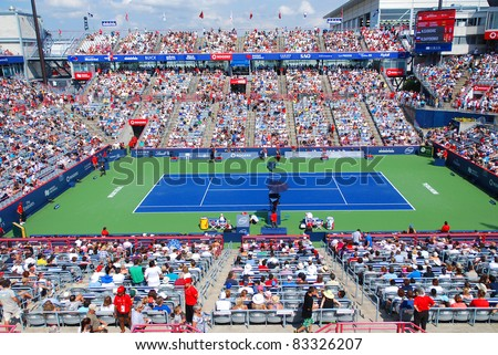 MONTREAL-AUGUST 07: Uniprix Stadium (French: Stade Uniprix) is the main tennis court at the Canada Masters tournament in Montreal, Quebec on 07 August 2011, Montreal, Canada - stock photo