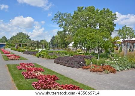 Montreal botanical garden flower bed - stock photo