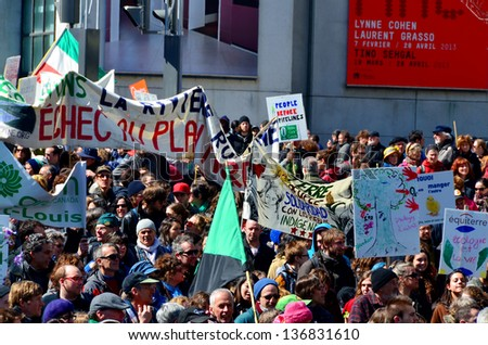 MONTREAL CANADA APRIL 22: Earth Day parade is an annual event on which events are held worldwide to demonstrate support for environmental protection. On april 22 2013 in Montreal Canada - stock photo