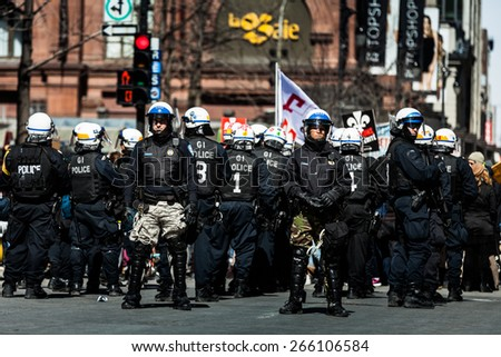MONTREAL, CANADA   APRIL 02 2015: Riot in the Montreal Streets to counter the Economic Austerity Measures.
