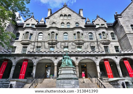 MONTREAL, CANADA -20 AUGUST 2015- The downtown Montreal campus of McGill University, a world class public research university in English founded in 1821. - stock photo