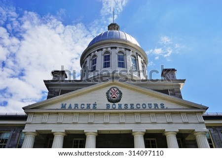 MONTREAL, CANADA -18 AUGUST 2015- The Marche Bonsecours (Bonsecours Market) is a domed two-story market in the old city of Montreal.