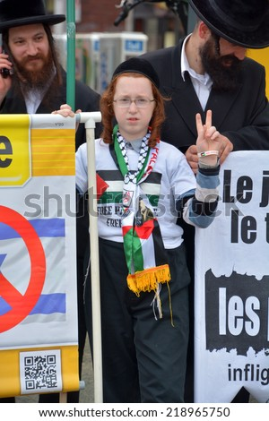 MONTREAL CANADA AUGUST 21:Unidentified people from jewish Hasidic Orthodox Judaism, participating in a rally to condemn the Israel occupation an bombing on Gaza On 08 21 2014 in Montreal Quebec Canada - stock photo