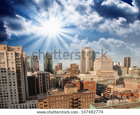 Montreal, Canada. Beautiful aerial view of city skyscrapers. - stock photo