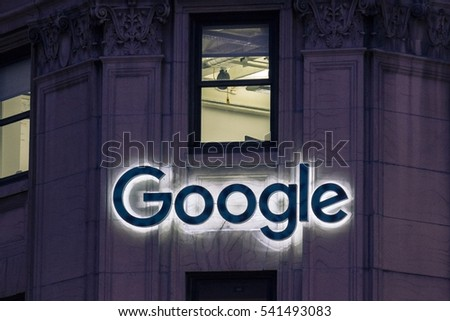 MONTREAL, CANADA - DECEMBER 22,2016: Picture of the Google logo on Google headquarters on Sainte Catherine Street in Montreal, Quebec, Canada