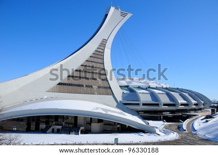 MONTREAL,CANADA -FEB.26.The Montreal Olympic Stadium and tower on February 26 , 2012. It's the tallest inclined tower in the world.Tour Olympique stands 175 meters tall and at a 45-degree angle - stock photo