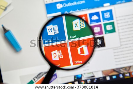 MONTREAL, CANADA - FEBRUARY, 2016 - Microsoft Office applications  on the web under magnifying glass. - stock photo
