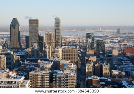 MONTREAL, CANADA - FEBRUARY, 2016 - Scenic view at winter downtown Montreal from Mount Royal mountain.