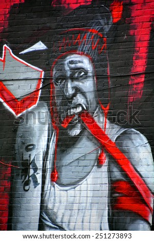 MONTREAL CANADA FEBRUARY 07: Street art Montreal junky on february 07 2015 in Montreal Canada. Montreal. is the perfect place to walk in the back alley and abandoned areas, looking for street art